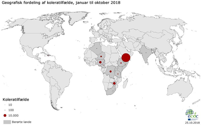 Geografisk fordeling af koleratilfælde, januar til oktober 2018