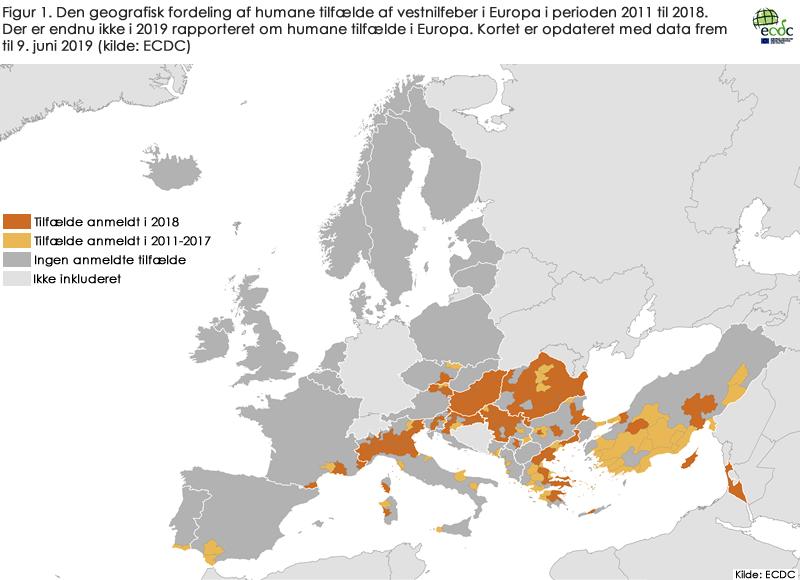 Den geografisk fordeling af humane tilfælde af vestnilfeber i Europa i 2011 til 2018. Der er endnu ikke i 2019 rapporteret om humane tilfælde i Europa.