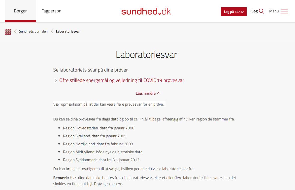Screendump fra Sundhed.dk - Laboratoriesvar