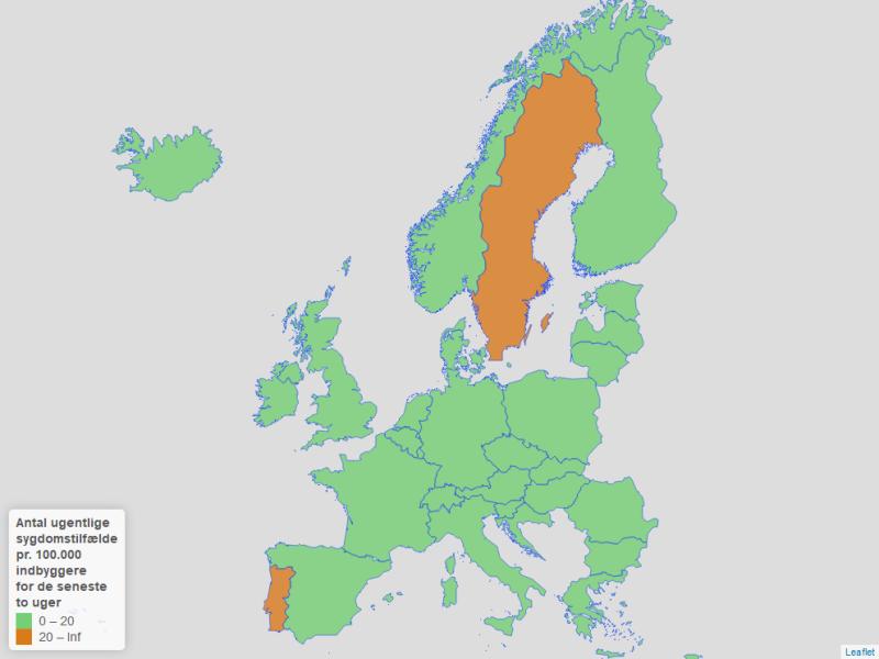 Kort der lande der overholder kriteriet vedr. smitte i de nye rejsevejledninger