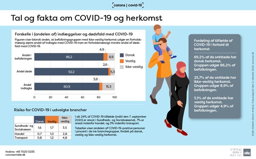 Infografik: Tal og fakta om COVID-19 og herkomst