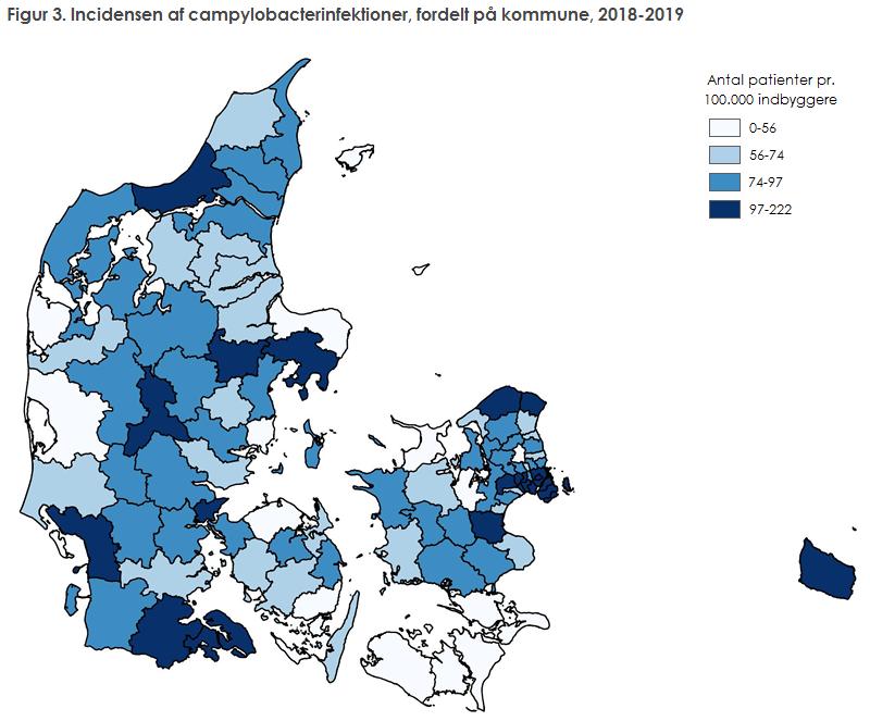 Figur 3. Incidensen af campylobacterinfektioner, fordelt på kommune, 2018-2019