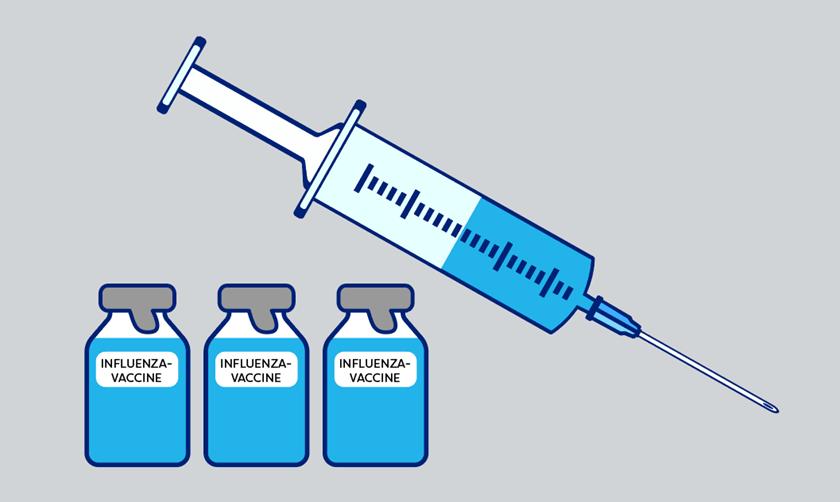 Grafik med kanyle og ampuller med influenzavaccine