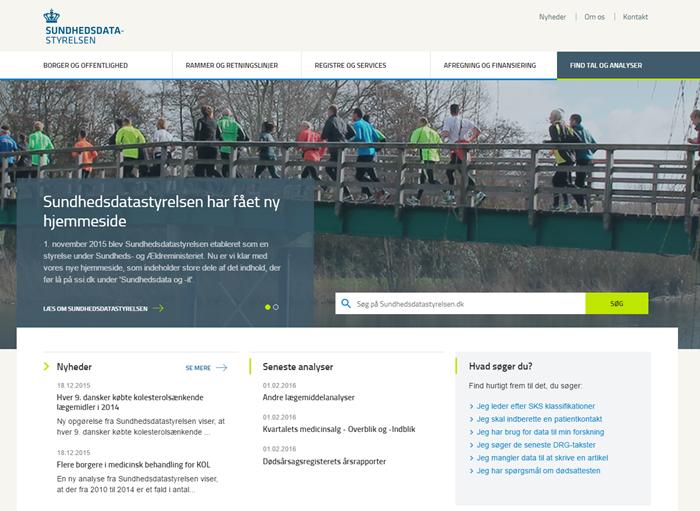 Screendump af Sundhedsdatastyrelsens nye hjemmeside