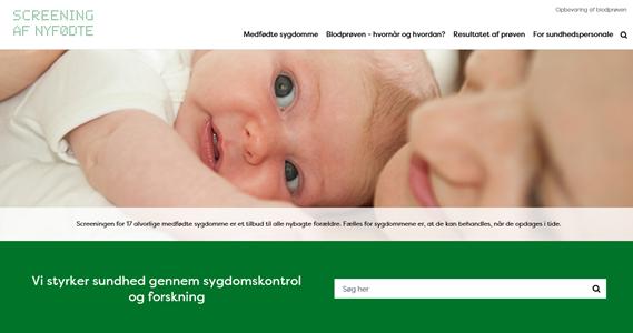 Screendump fra ny hjemmeside om screening af nyfødte