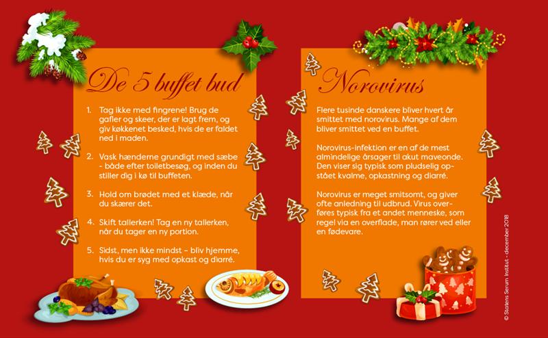 Grafik - Gode råd om hygiejne ifm julefrokostbuffet og info om norovirus
