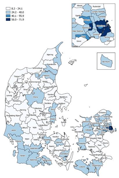Antal alkoholrelaterede sygehuskontakter pr. 1.000 indbyggere, fordelt på kommuner, 2013