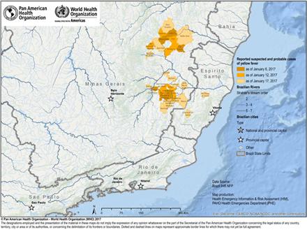 Tilfælde af gul feber i Minas Gerais og Espiritu Santo, 2017